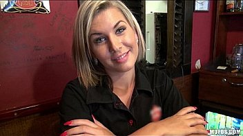 XXX Gorgeous blonde bartender is talked into having sex at work
