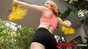 Strawberry blonde teen cheerleader takes it in her pussy creampie
