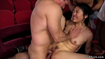 Bokep Beautiful and desperately Asian babe Nari Park in theater gangbang anal fucked by group of big cock