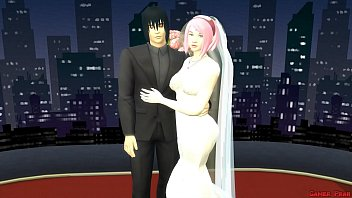 Sakura's Wedding Part 1 Anime Hentai Netorare Newlyweds take Pictures with Eyes Covered Abused Wife Silly Husband