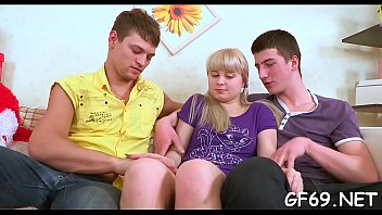 Juvenile and sweet darling is seduced to have three-some