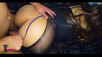 Skinny babe has sex in sheer stockings and lingerie