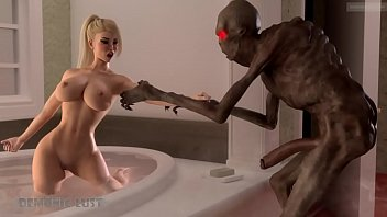3DX Horrors. Boogie Man enters the bathroom to bang big tittied 3D girl hard on the wet floor!