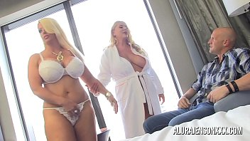 Two big tit blondes take turns pleasing one lucky guy