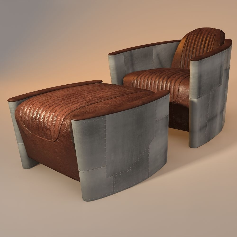 aviator chair and ottoman 3D Model obj 3ds fbx 3dm