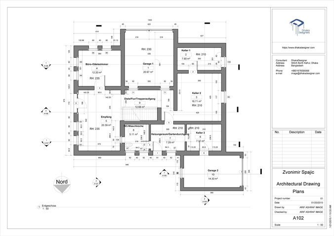 Architectural Drawing in Revit free 3D Model .rvt