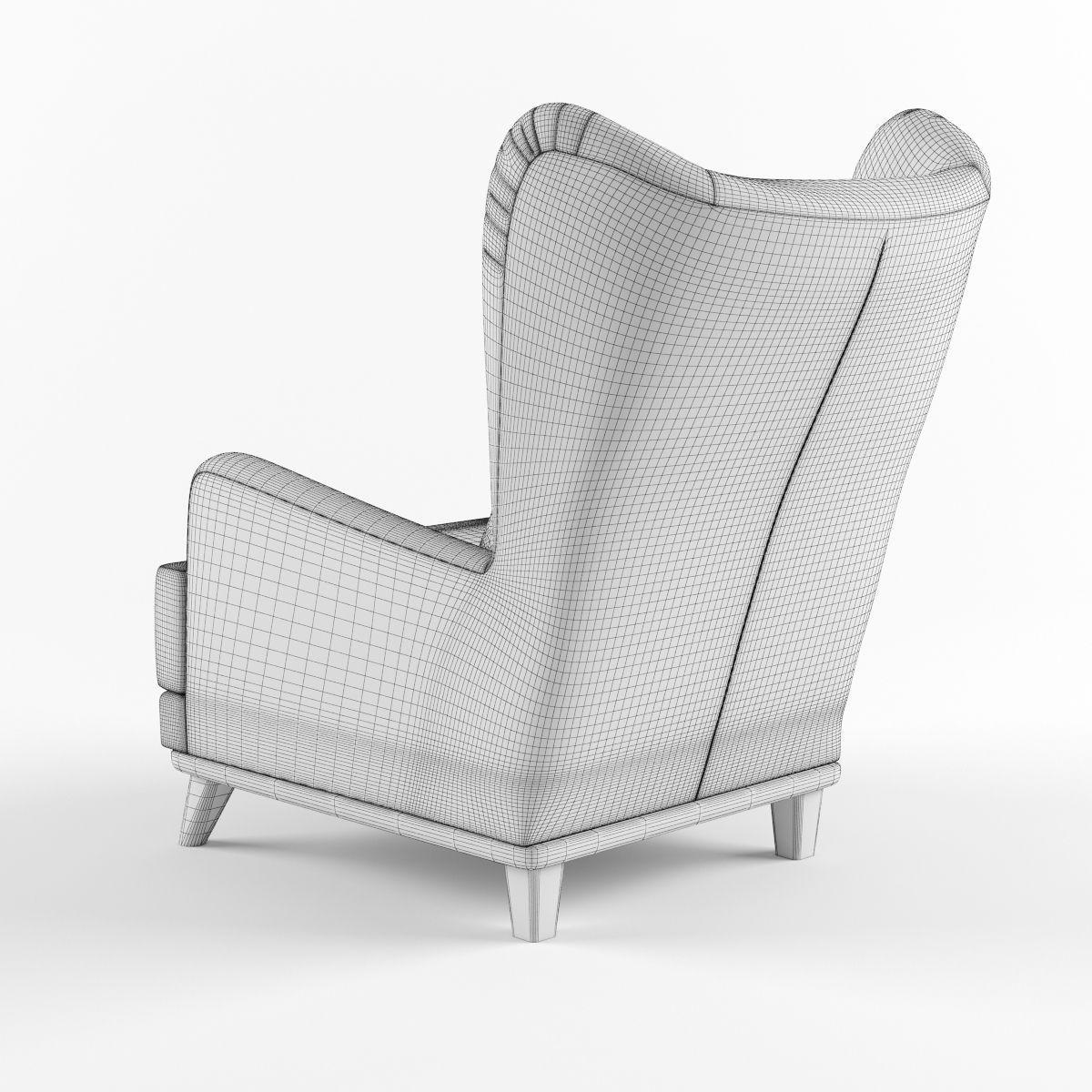 armchair pillow wood folding chair with headrest and 3d model max obj fbx