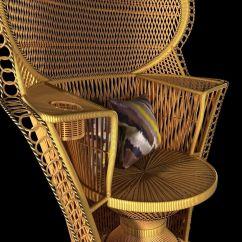 Vintage Peacock Chair Fishing Deals Wicker Rattan Fan Back 3d Model Max Obj Mtl 3ds Fbx Unitypackage