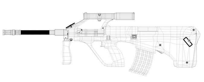 Steyr AUG A1 Assault Rifle 3D Model Game ready .c4d