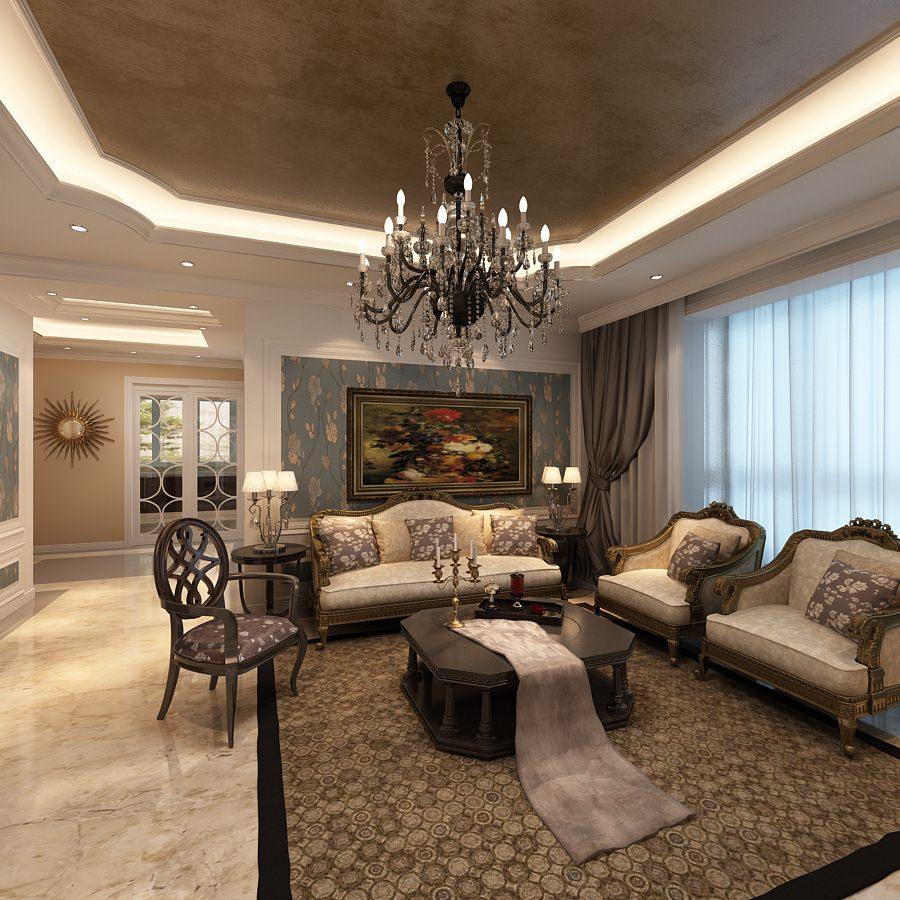 Elegant Living Room Photoreal 3D Model max  CGTradercom