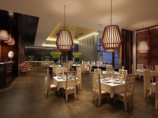 Restaurant Dining Room 3D Model max  CGTradercom