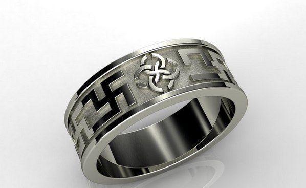 3D print model ring with a swastika 032  CGTrader