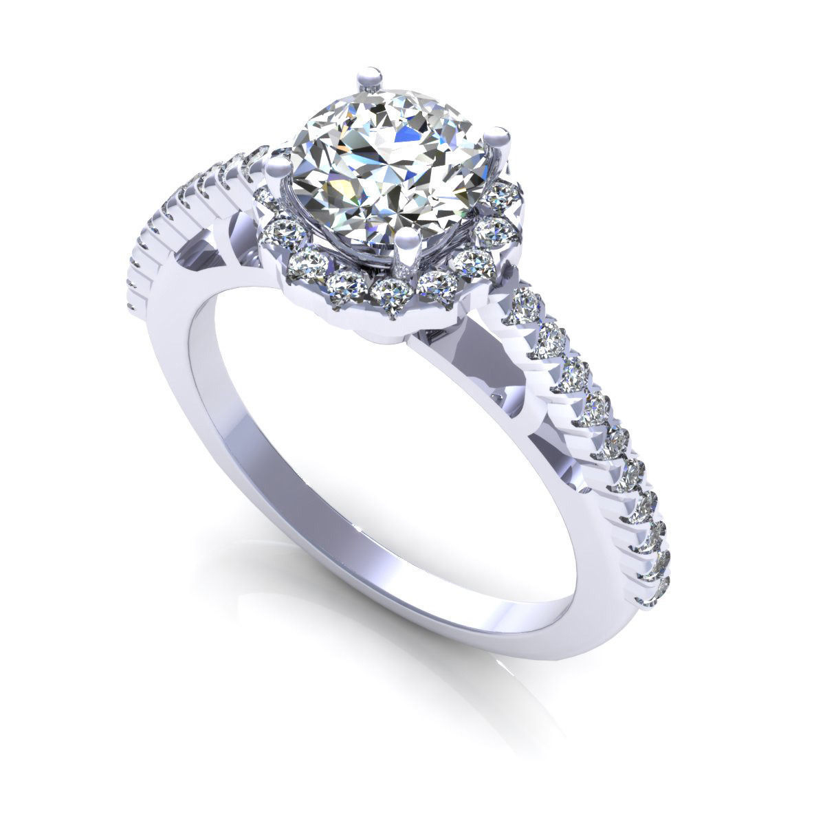 Side Stone Engagement Ring 3d Model  Cgtraderm
