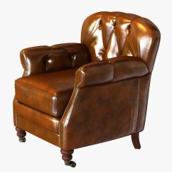 Noir Furniture Chairs Pottery Barn Leather Chair Club Vintage Cigar Le 3d Model