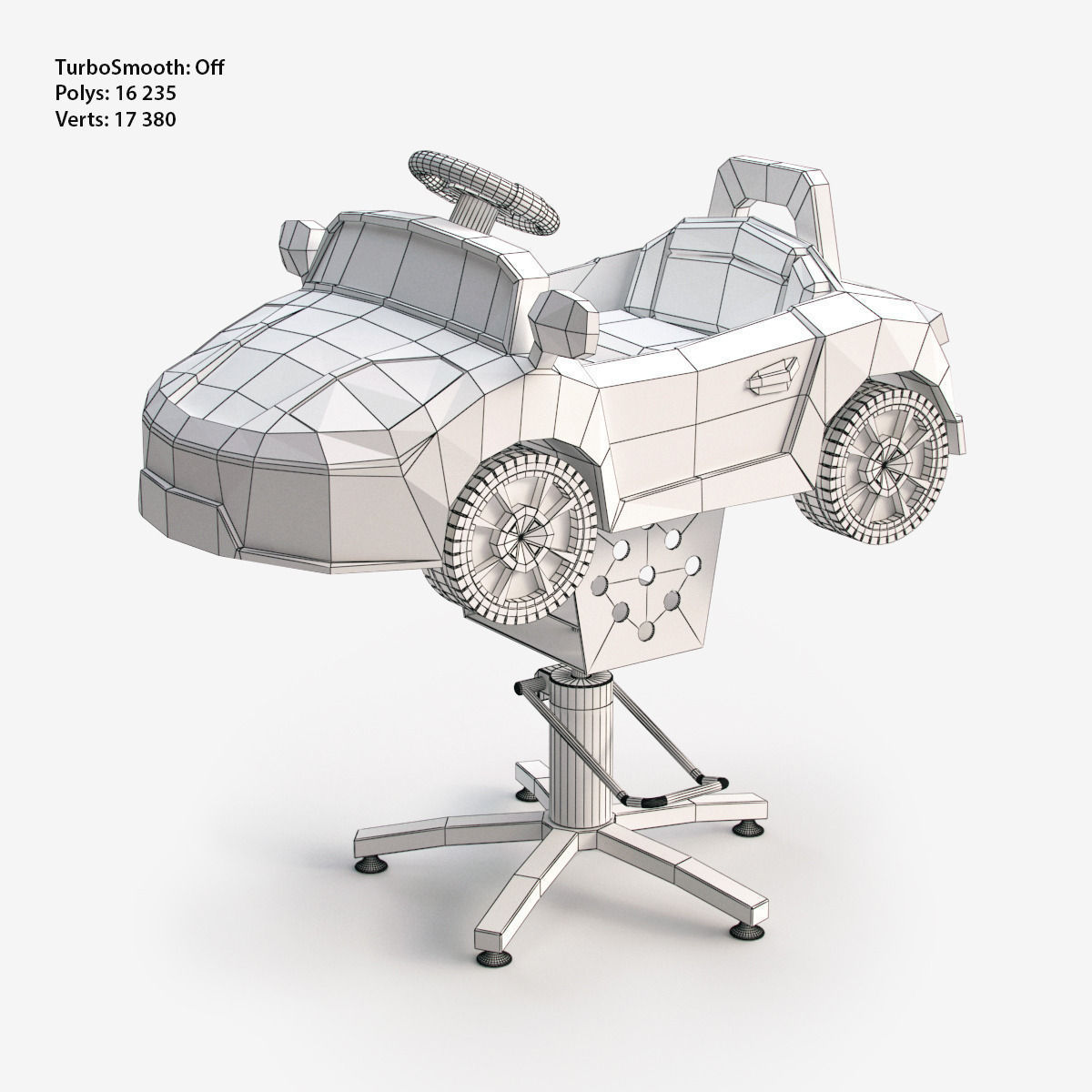 kids car barber chair fold up chairs for sporting events children electric ride on 3d model game