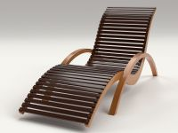 Lounge Chair Outdoor Wood Patio Deck 3D Model .obj