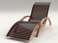 Lounge Chair Outdoor Wood Patio Deck 3D Model .obj