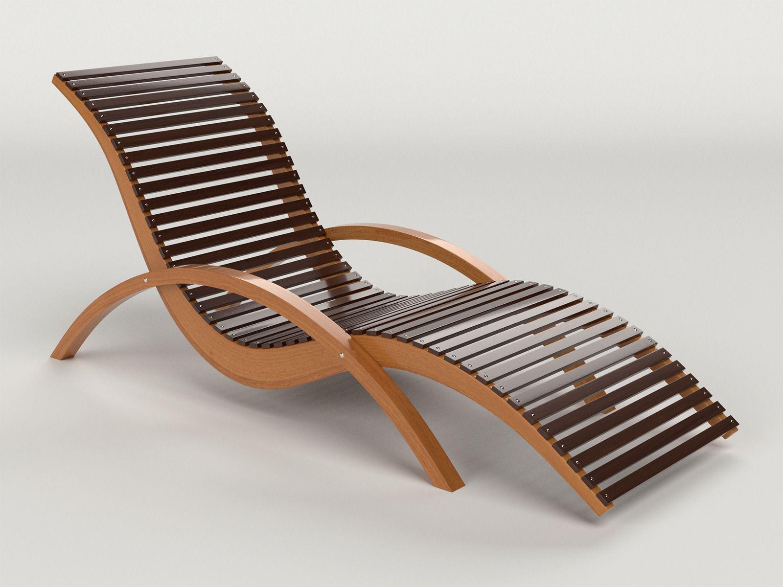 Lounge Chair Outdoor Wood Patio Deck 3D Model obj