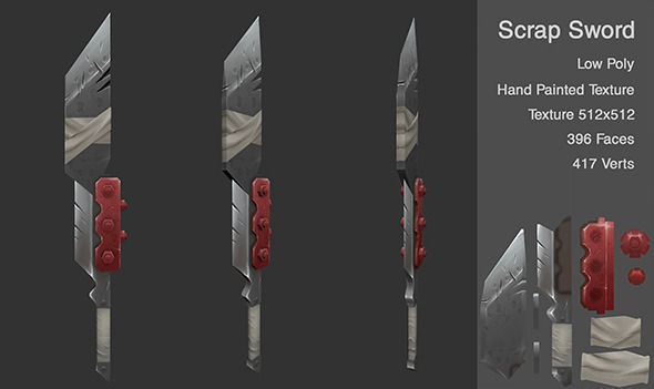 3D Asset Low Poly Scrap Sword CGTrader