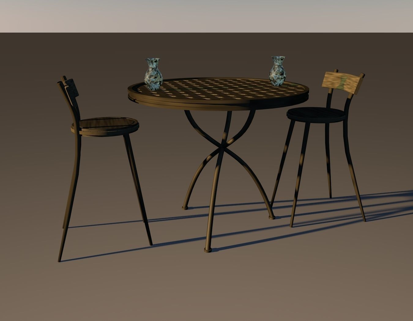 vintage wood high chair walmart evenflo 3d asset mesh wooden table and 1 for outdoors model low poly 3ds