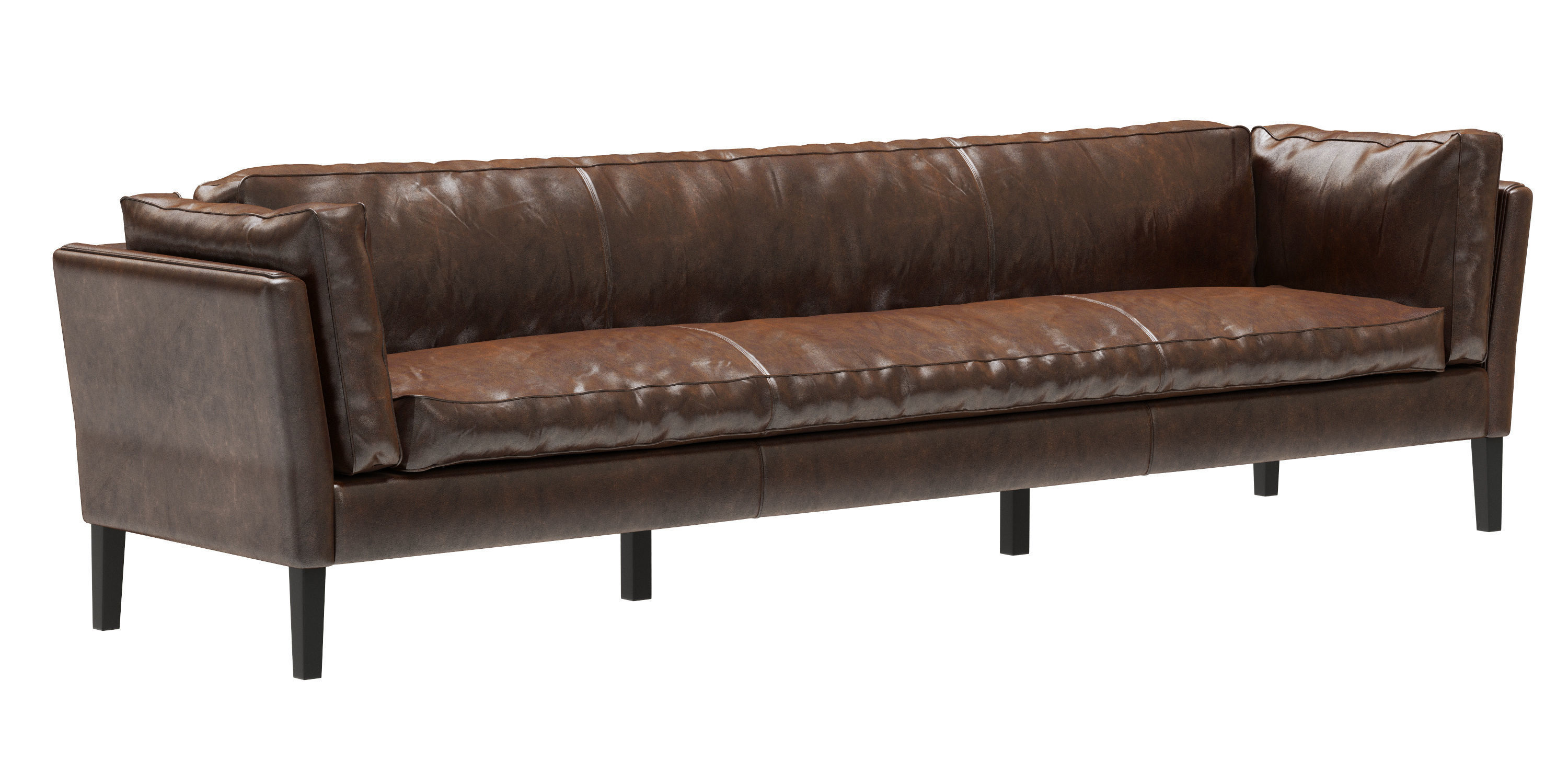 restoration hardware sorensen leather sofa 3d model