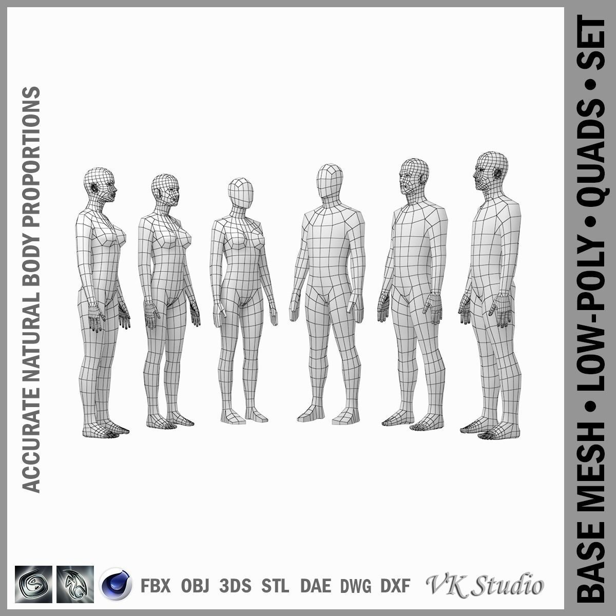 3D asset Female and Male Base Mesh in Rest Pose BUNDLE