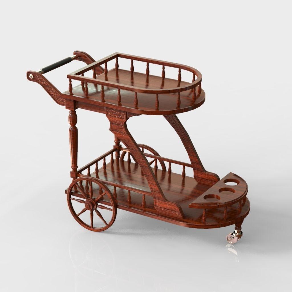 antique wood trolley cart