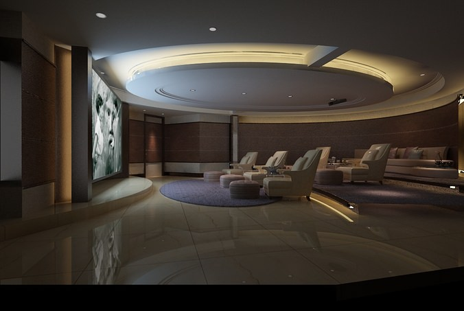 Home Theatre Lounge Space collection 3D Model MAX