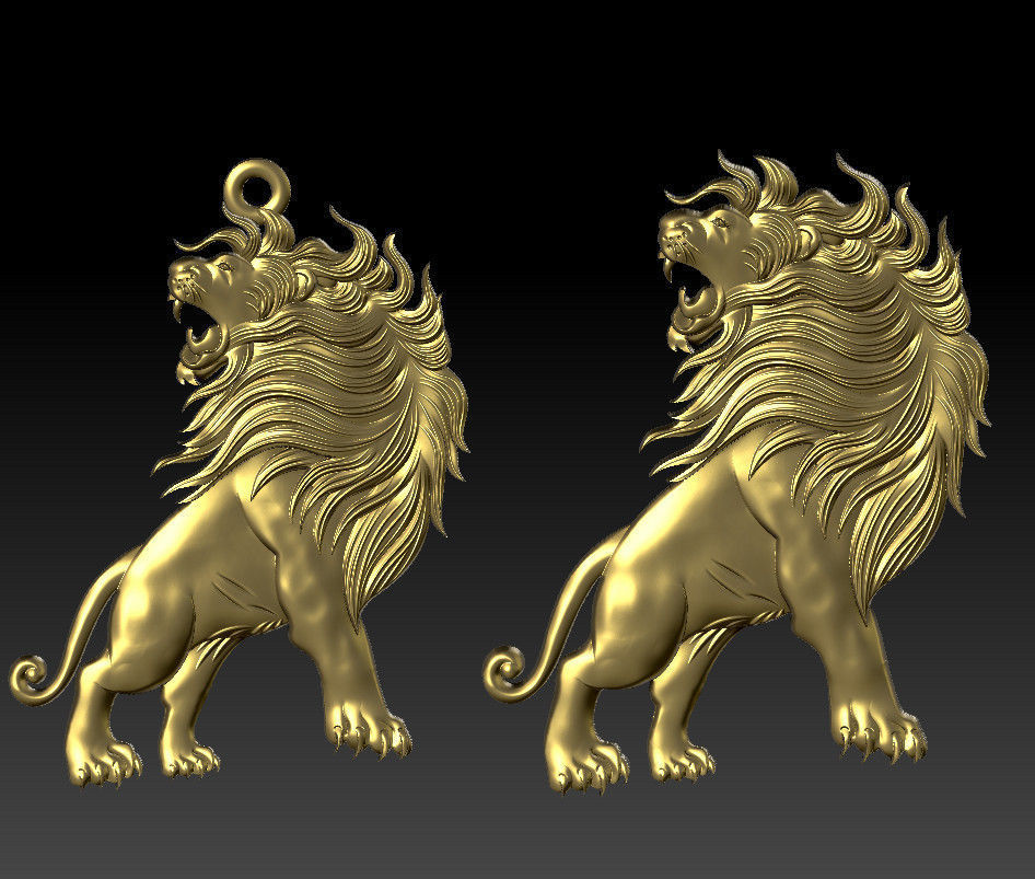 angry lion pendant 3d