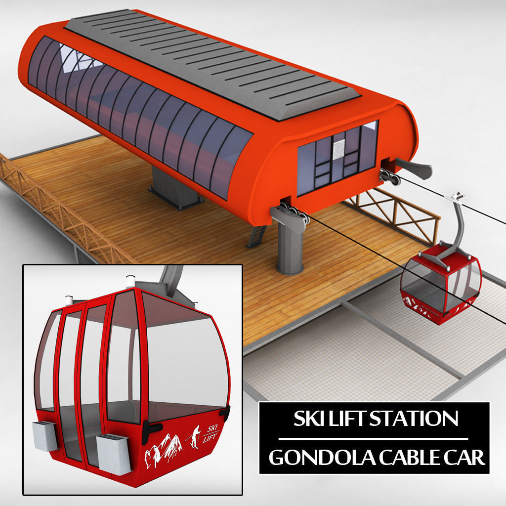 hight resolution of ski lift station gondola cable car 3d model