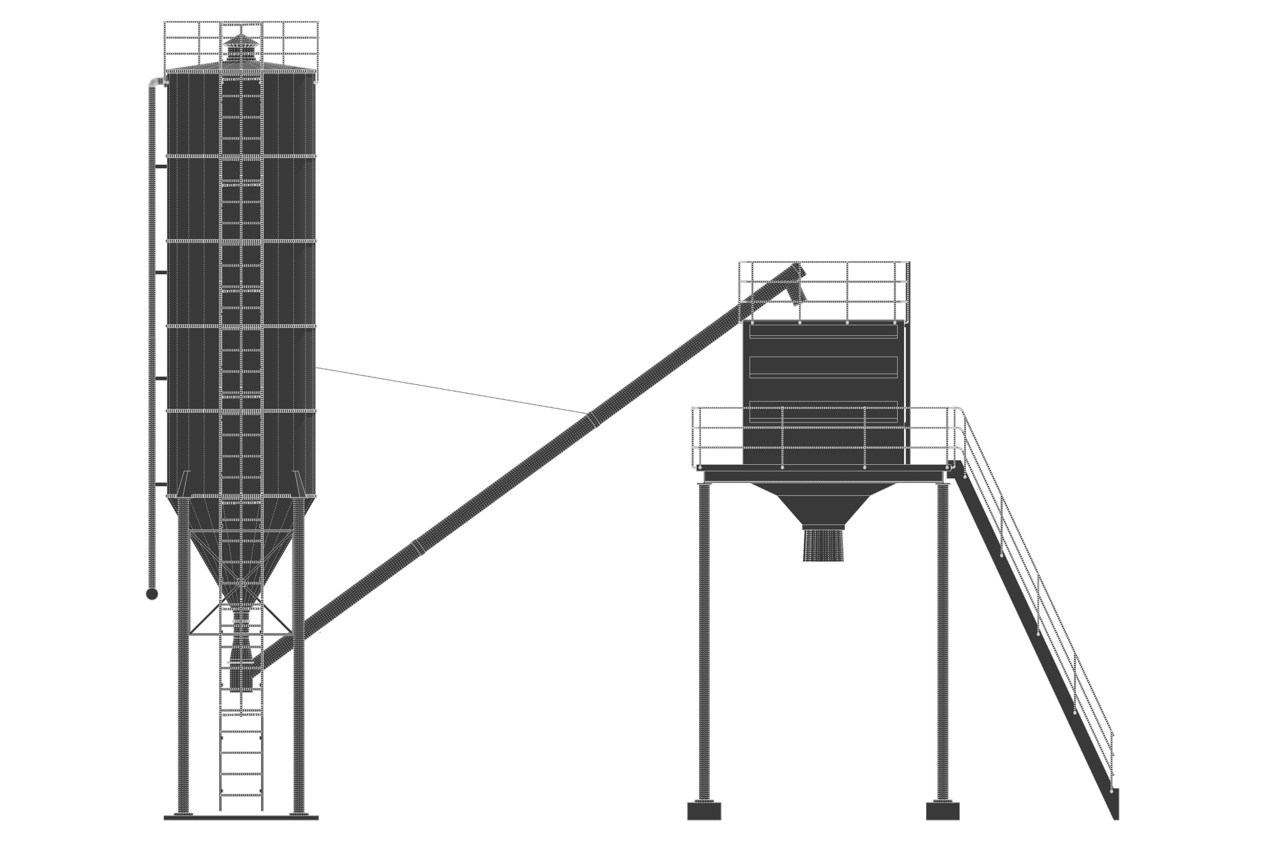 Cement silo hopper 3D Model Game ready rigged .obj .3ds