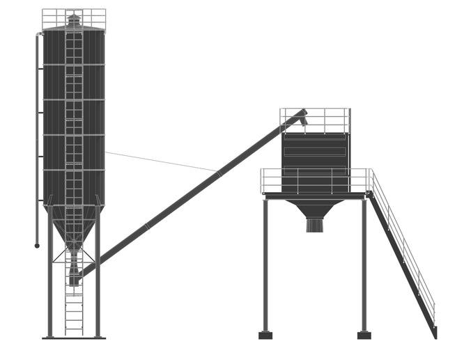 3D model Cement silo hopper VR / AR / low-poly OBJ 3DS FBX