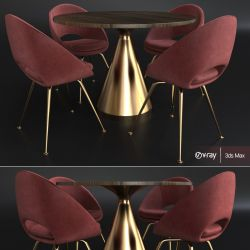 silhouette table round pedestal dining 3d chair models furniture cgtrader