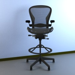 Desk Chair Herman Miller No Casters 3d Model Aeron Work Stool Cgtrader