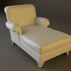 White Chaise Chair Vanity With Back And Arms Leather 3d Model Max Obj 3ds Fbx