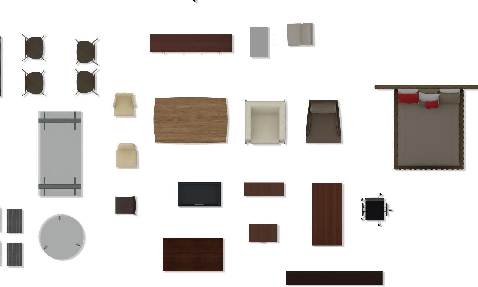 PSD 2d floorplan furniture 3D Model