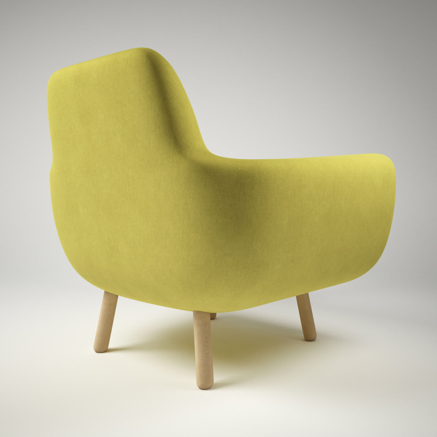 armchair pillow dining room chairs white jonah yellow with 3d model max obj fbx mtl