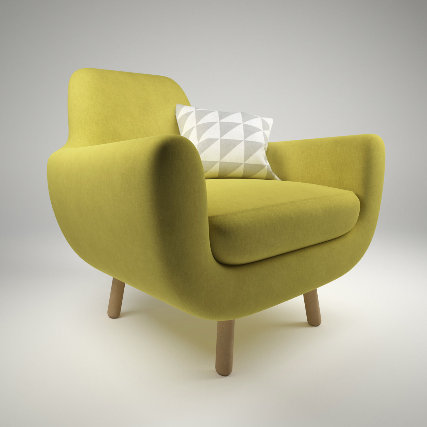 armchair pillow holiday christmas chair covers jonah yellow with 3d model max obj fbx mtl