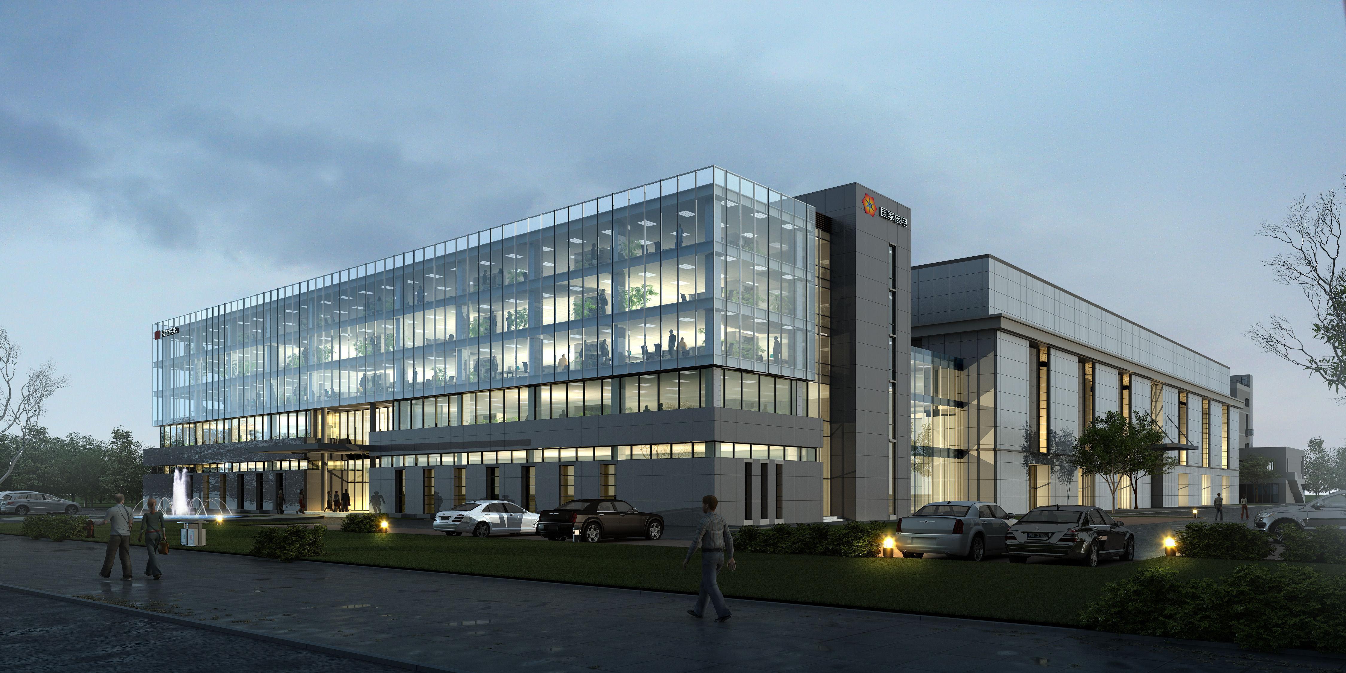 Exterior Office Building Scene 001 3D Model .tga