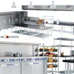 3d Model Restaurant Cafe Kitchen Equipment With Utensils