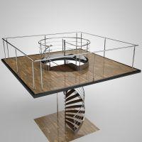 Spiral staircase 3D Model .obj .3ds .fbx .c4d .mtl ...