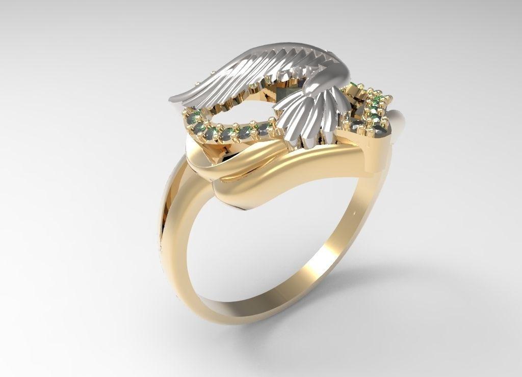 Ring Dove of peace STL 3D Model 3D printable STL