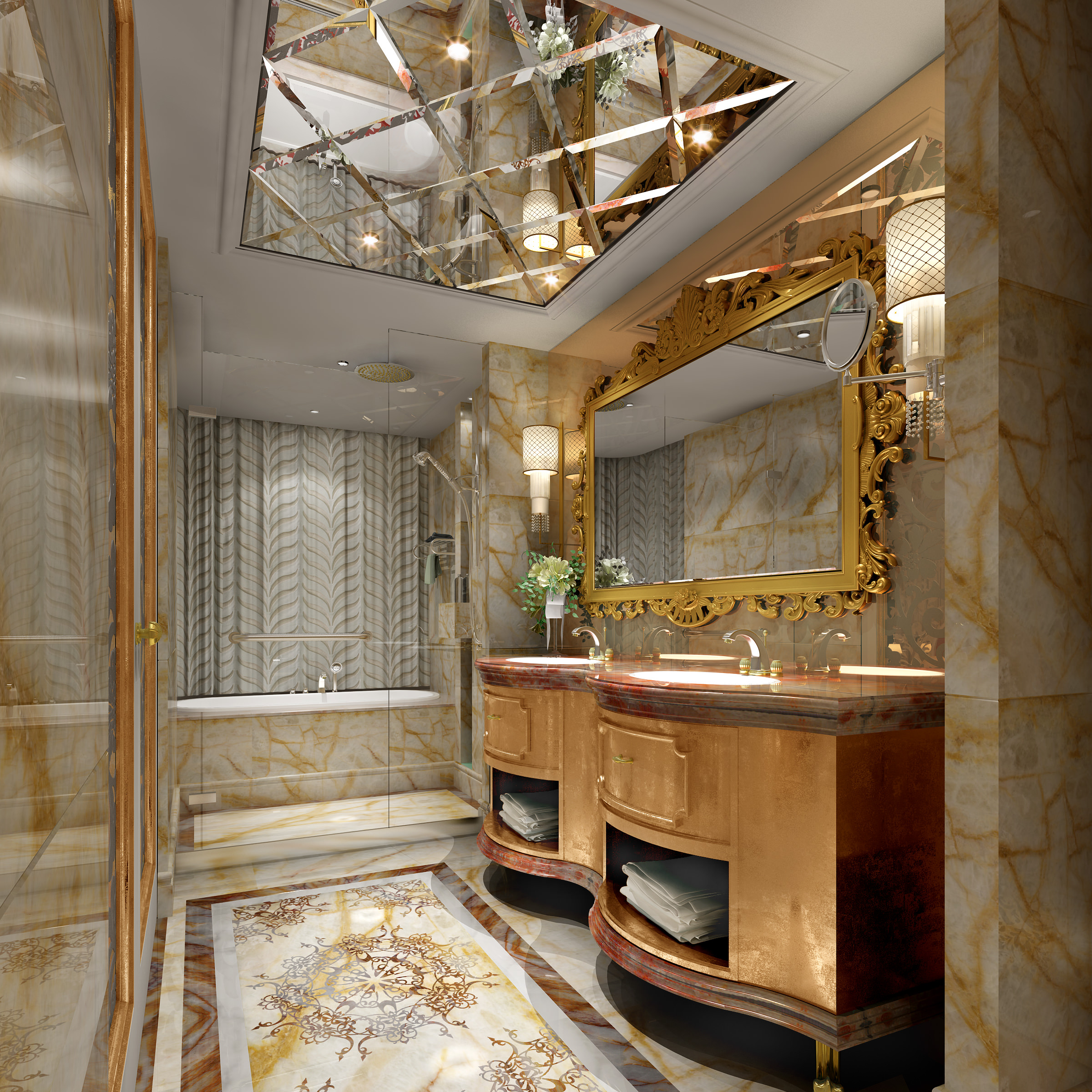 Bathroom with Ceiling Mirror 3D Model .max