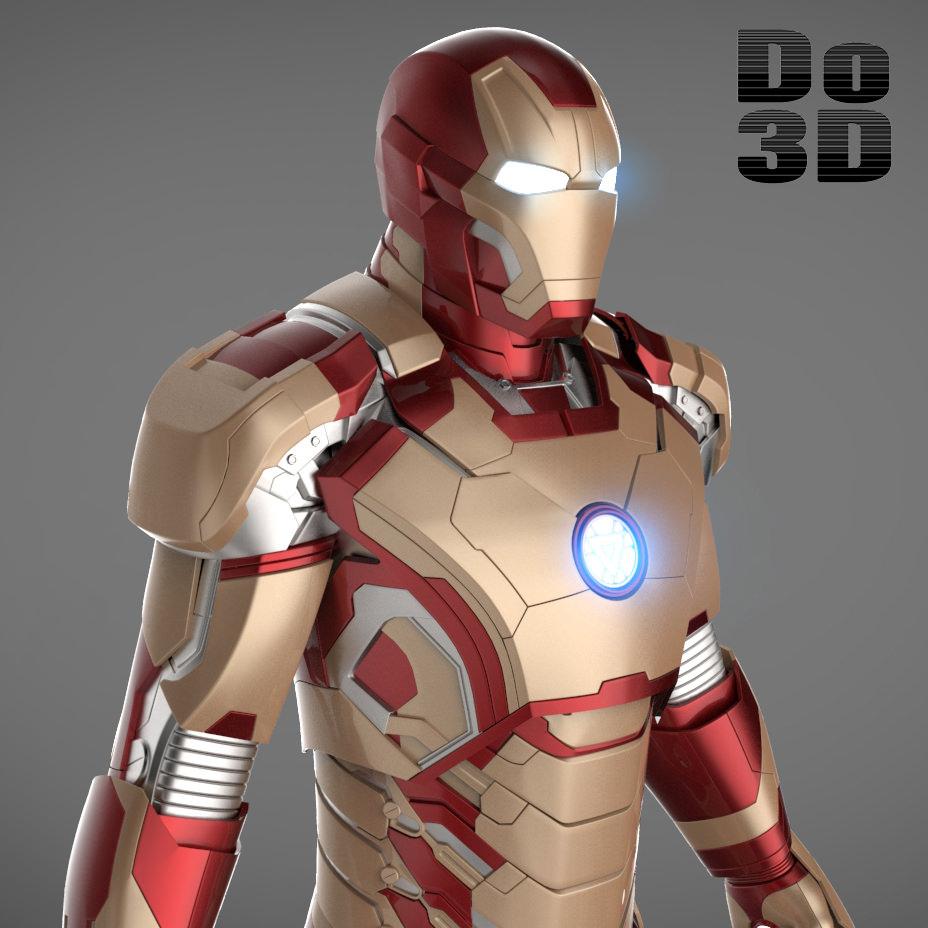 Iron Man 3 Suit Mark 42 Armor 3D Model Max Obj 3ds Fbx