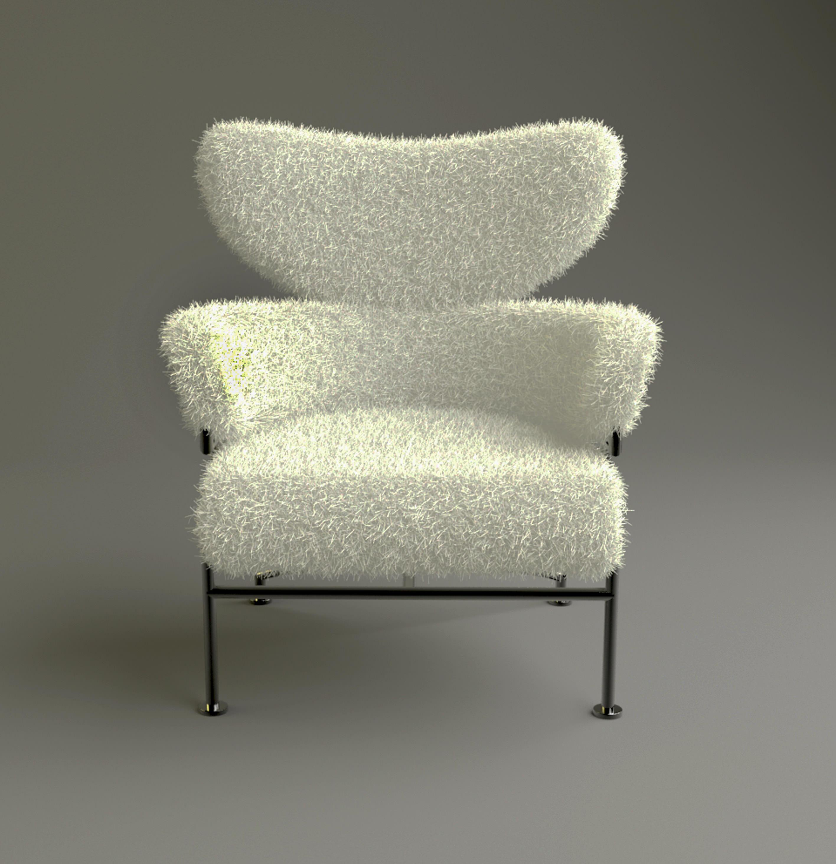 furry chair 3D Model Game ready max obj 3ds fbx