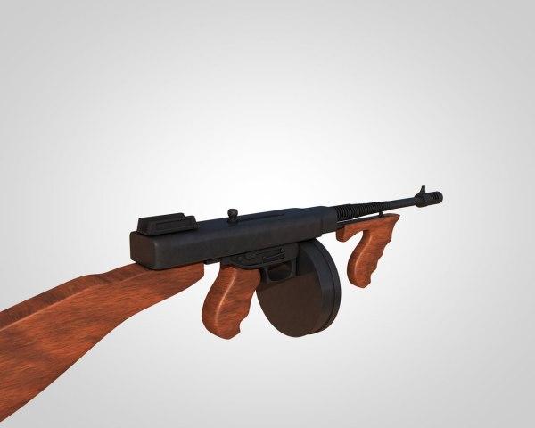Thompson Submachine Gun 1921 Free 3d Model .obj .3ds .c4d