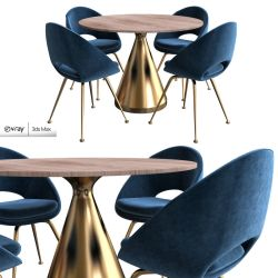 pedestal silhouette dining round table 3d chair models furniture cgtrader