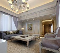 Fancy Living Room 3D Model .max