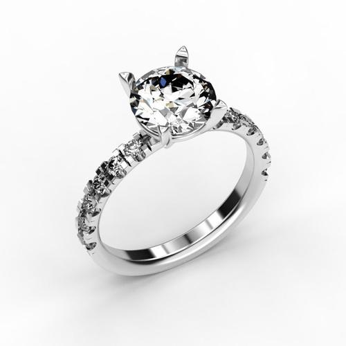 Engagement Ring 8 Mm Stone 3d Model 3d Printable Stl 3dm