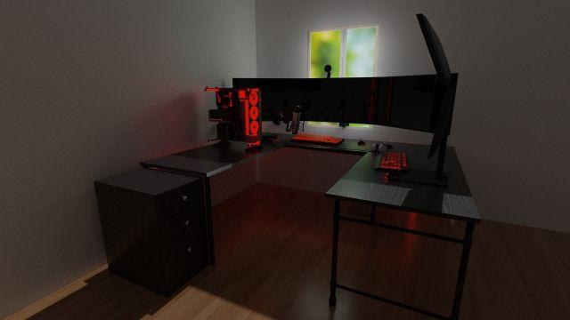 3D Red Modern Gaming Setup | CGTrader